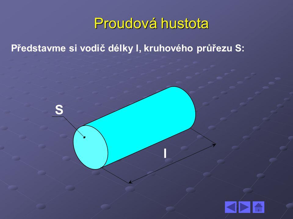 Proudová hustota Představme si vodič délky l, kruhového průřezu S: l S