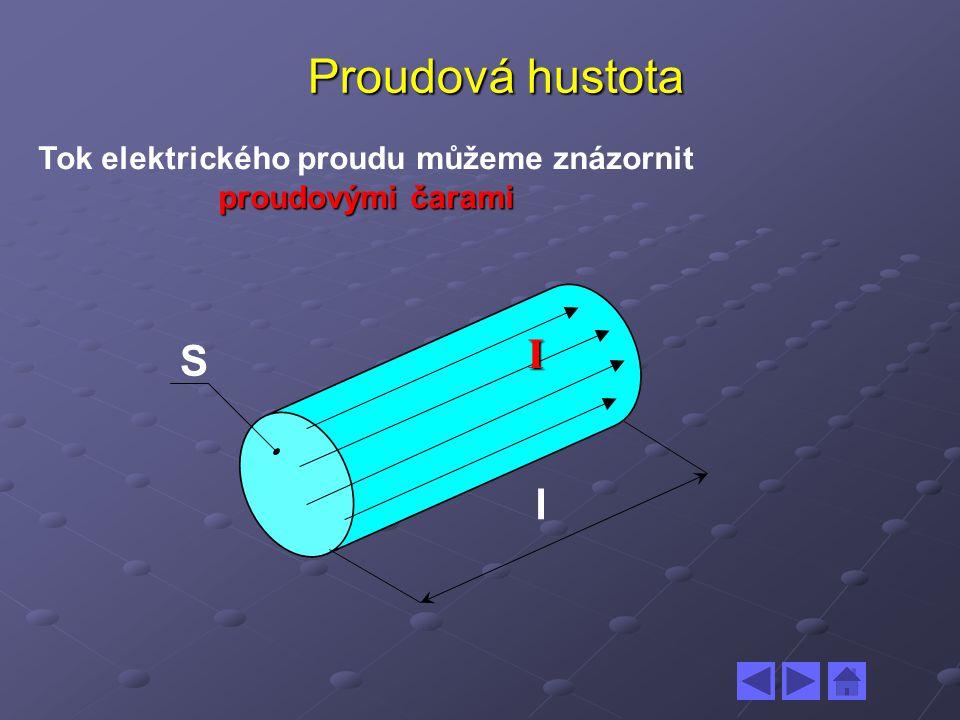 Proudová hustota proudovými čarami Tok elektrického proudu můžeme znázornit proudovými čarami l S I