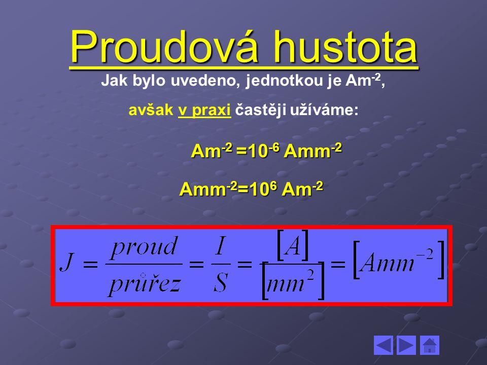 Proudová hustota Jak bylo uvedeno, jednotkou je Am -2, avšak v praxi častěji užíváme: Am -2 =10 -6 Amm -2 Am -2 =10 -6 Amm -2 Amm -2 =10 6 Am -2