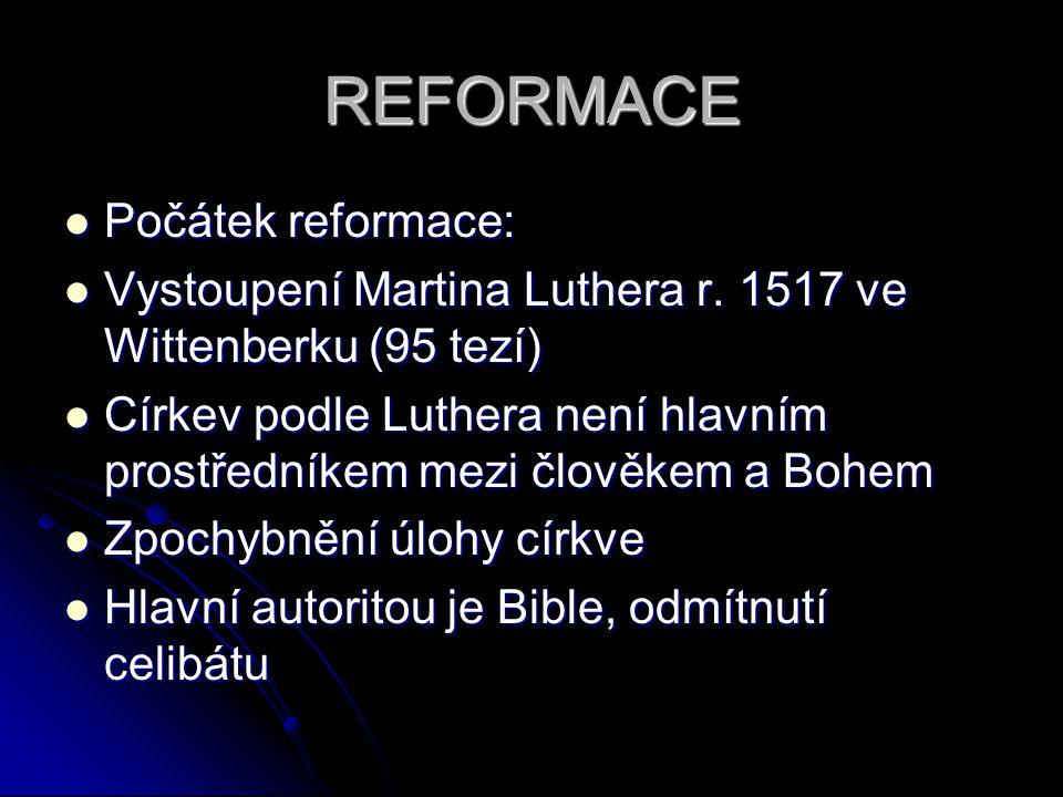 REFORMACE Počátek reformace: Počátek reformace: Vystoupení Martina Luthera r. 1517 ve Wittenberku (95 tezí) Vystoupení Martina Luthera r. 1517 ve Witt