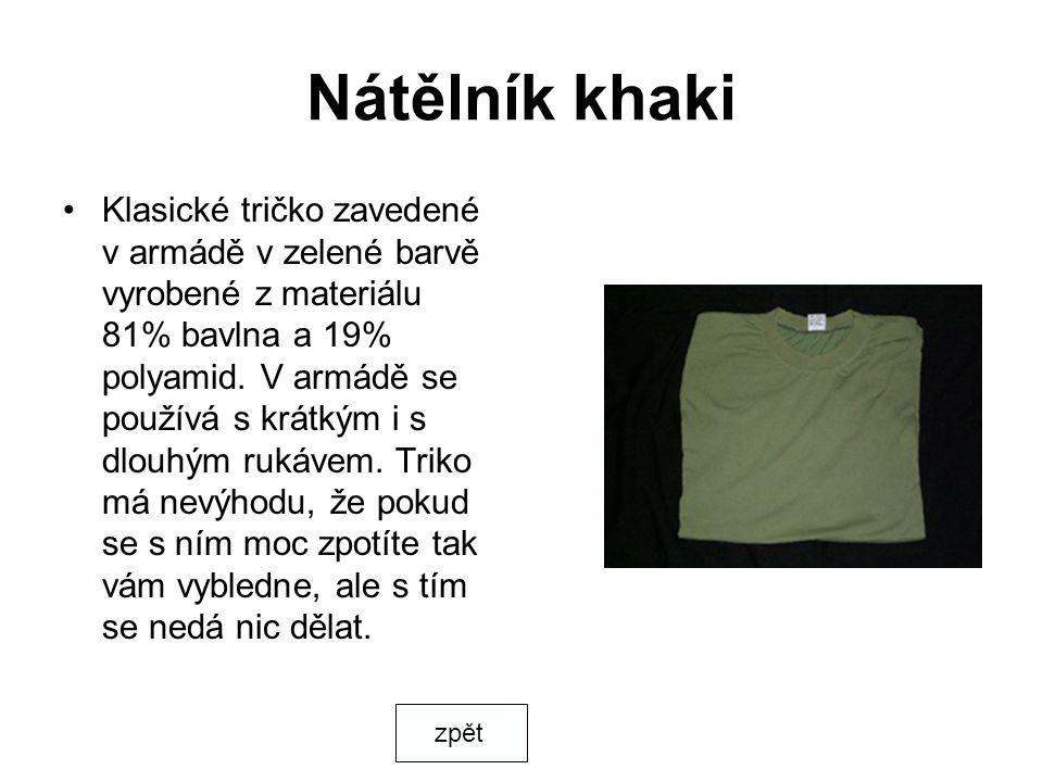 Nátělník khaki Klasické tričko zavedené v armádě v zelené barvě vyrobené z materiálu 81% bavlna a 19% polyamid. V armádě se používá s krátkým i s dlou