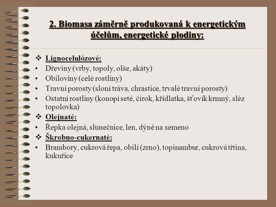 2. Biomasa záměrně produkovaná k energetickým účelům, energetické plodiny:  Lignocelulózové: Dřeviny (vrby, topoly, olše, akáty) Obiloviny (celé rost