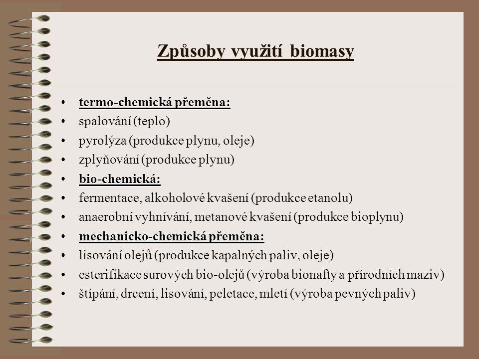 Způsoby využití biomasy termo-chemická přeměna:termo-chemická přeměna: spalování (teplo) pyrolýza (produkce plynu, oleje) zplyňování (produkce plynu)
