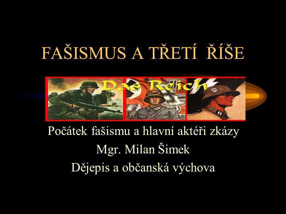 FAŠISMUS A TŘETÍ ŘÍŠE Počátek fašismu a hlavní aktéři zkázy Mgr. Milan Šimek Dějepis a občanská výchova