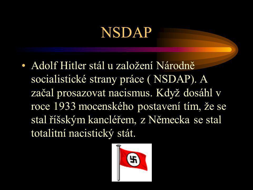 NSDAP Adolf Hitler stál u založení Národně socialistické strany práce ( NSDAP). A začal prosazovat nacismus. Když dosáhl v roce 1933 mocenského postav