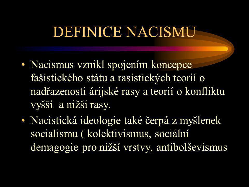 DEFINICE NACISMU Nacismus vznikl spojením koncepce fašistického státu a rasistických teorií o nadřazenosti árijské rasy a teorií o konfliktu vyšší a n