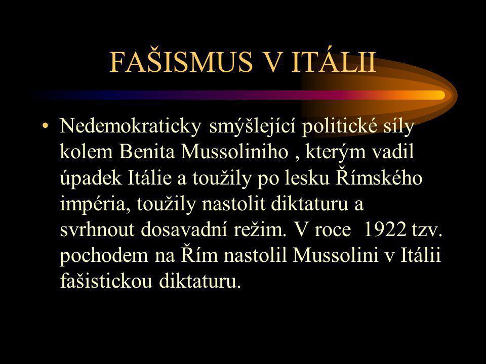 FAŠISMUS V ITÁLII Nedemokraticky smýšlející politické síly kolem Benita Mussoliniho, kterým vadil úpadek Itálie a toužily po lesku Římského impéria, t