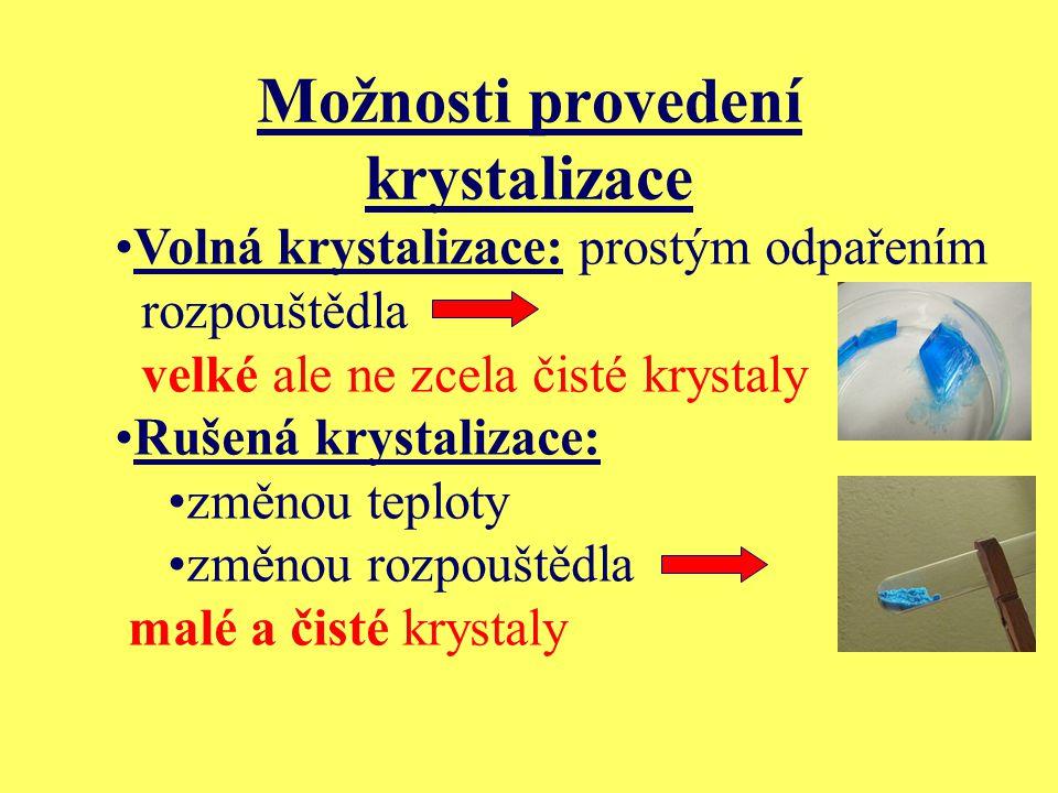 Možnosti provedení krystalizace Volná krystalizace: prostým odpařením rozpouštědla velké ale ne zcela čisté krystaly Rušená krystalizace: změnou teplo
