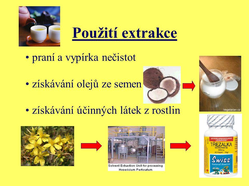 Použití extrakce praní a vypírka nečistot získávání olejů ze semen získávání účinných látek z rostlin