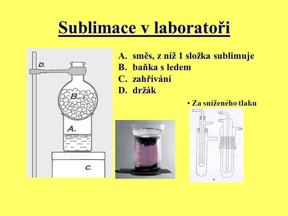 Sublimace v laboratoři A.směs, z níž 1 složka sublimuje B.baňka s ledem C.zahřívání D.držák Za sníženého tlaku