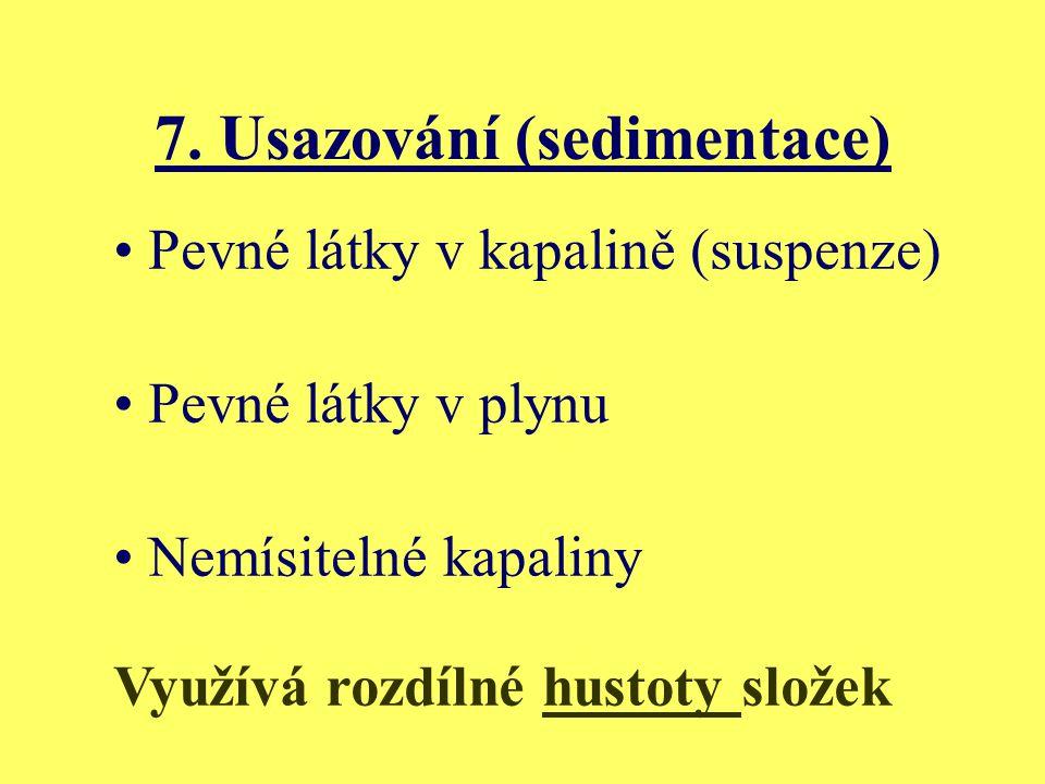 7. Usazování (sedimentace) Pevné látky v kapalině (suspenze) Pevné látky v plynu Nemísitelné kapaliny Využívá rozdílné hustoty složek