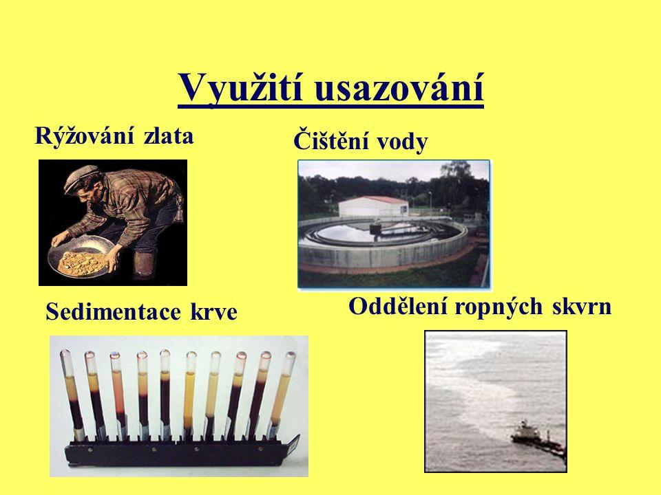 Využití usazování Čištění vody Rýžování zlata Oddělení ropných skvrn Sedimentace krve