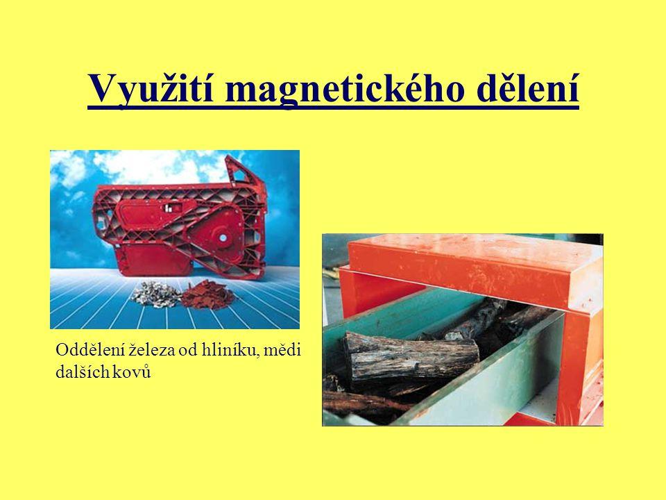 Využití magnetického dělení Oddělení železa od hliníku, mědi dalších kovů
