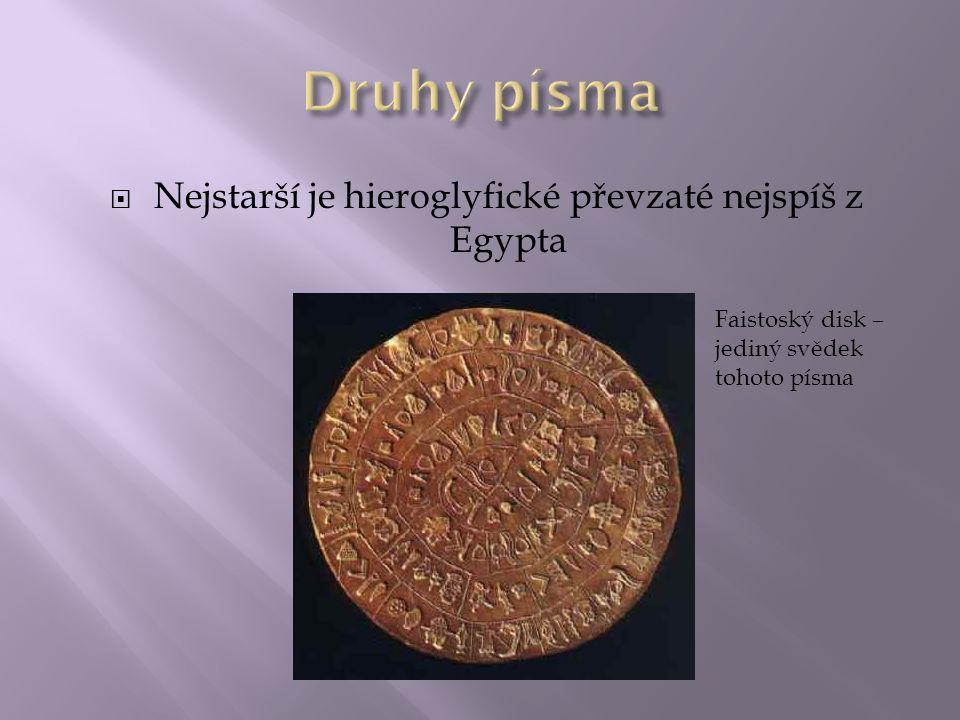  Nejstarší je hieroglyfické převzaté nejspíš z Egypta Faistoský disk – jediný svědek tohoto písma