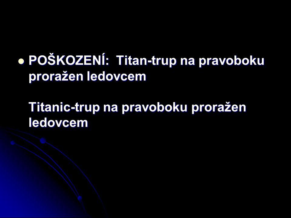 POŠKOZENÍ: Titan-trup na pravoboku proražen ledovcem Titanic-trup na pravoboku proražen ledovcem POŠKOZENÍ: Titan-trup na pravoboku proražen ledovcem