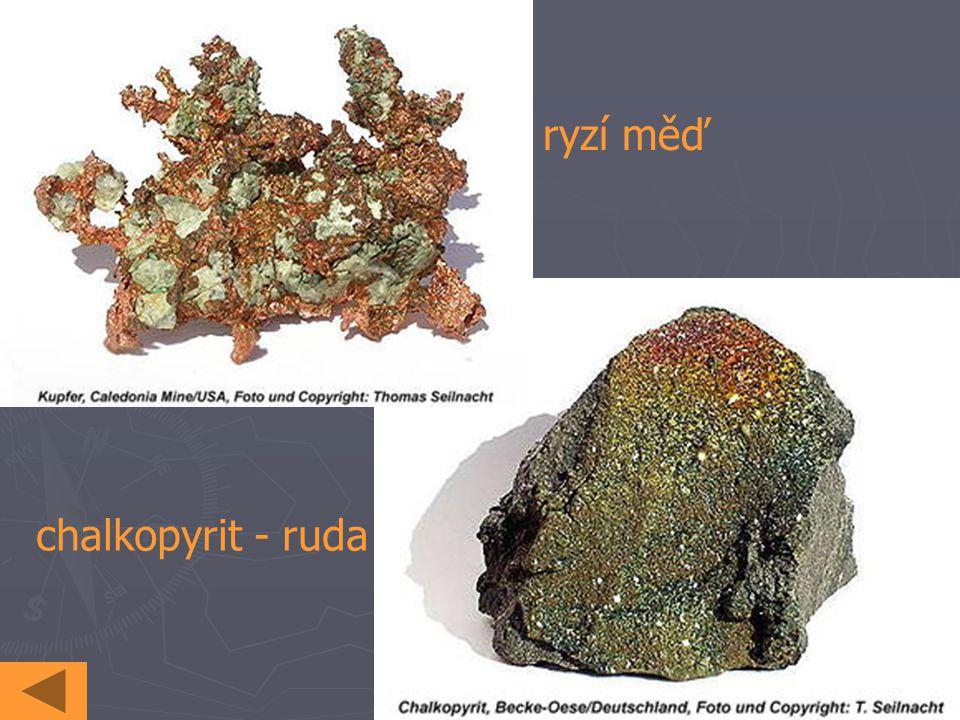 ryzí měď chalkopyrit - ruda
