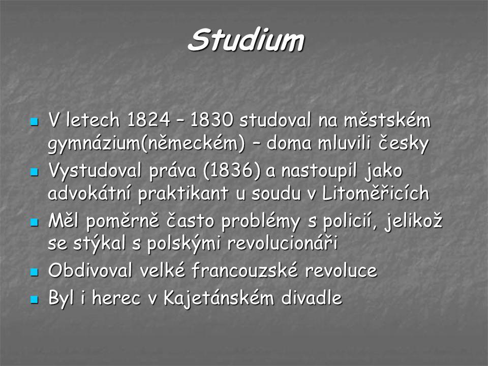 Studium V letech 1824 – 1830 studoval na městském gymnázium(německém) – doma mluvili česky V letech 1824 – 1830 studoval na městském gymnázium(německé