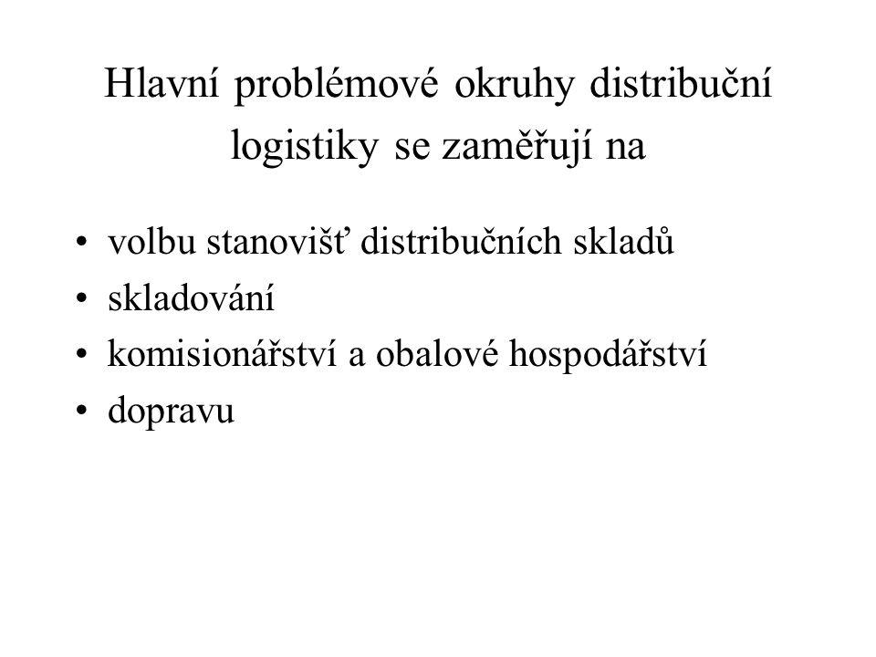 Hlavní problémové okruhy distribuční logistiky se zaměřují na volbu stanovišť distribučních skladů skladování komisionářství a obalové hospodářství do
