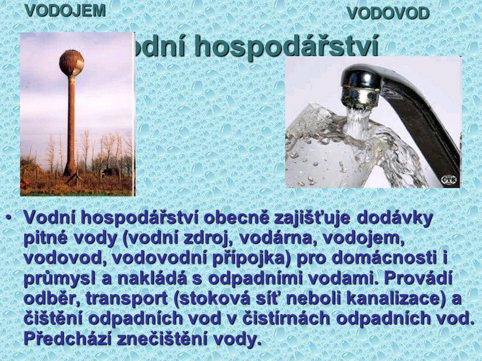 Vodní hospodářství Vodní hospodářství obecně zajišťuje dodávky pitné vody (vodní zdroj, vodárna, vodojem, vodovod, vodovodní přípojka) pro domácnosti