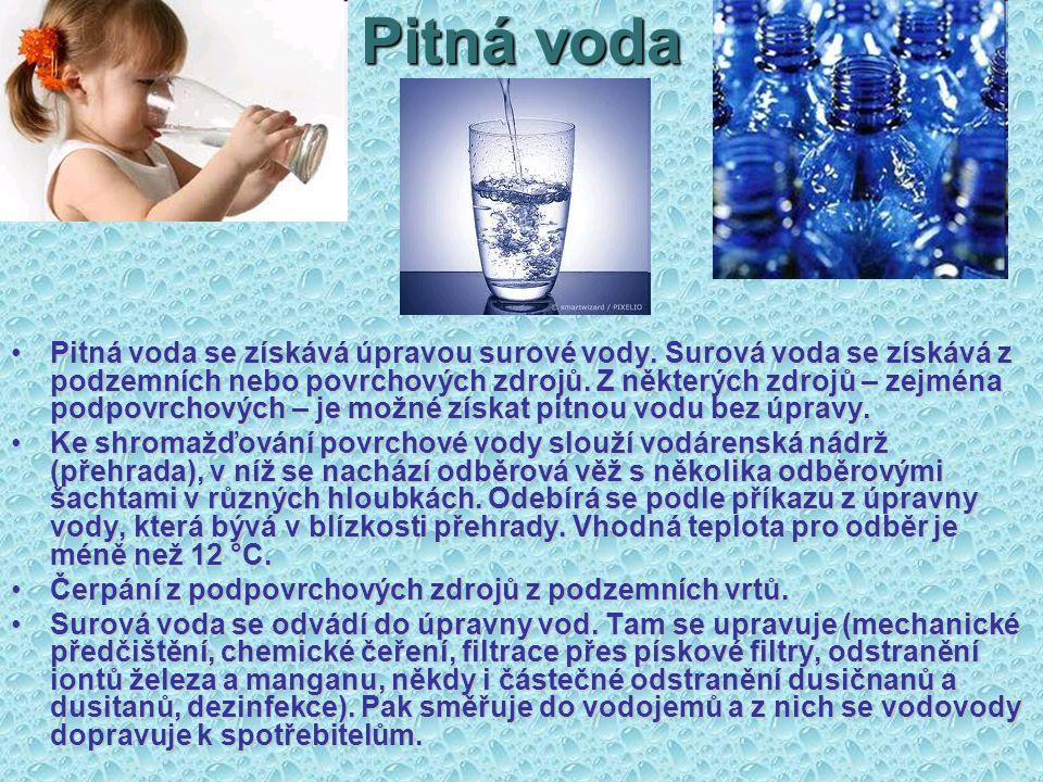 Pitná voda Pitná voda se získává úpravou surové vody. Surová voda se získává z podzemních nebo povrchových zdrojů. Z některých zdrojů – zejména podpov