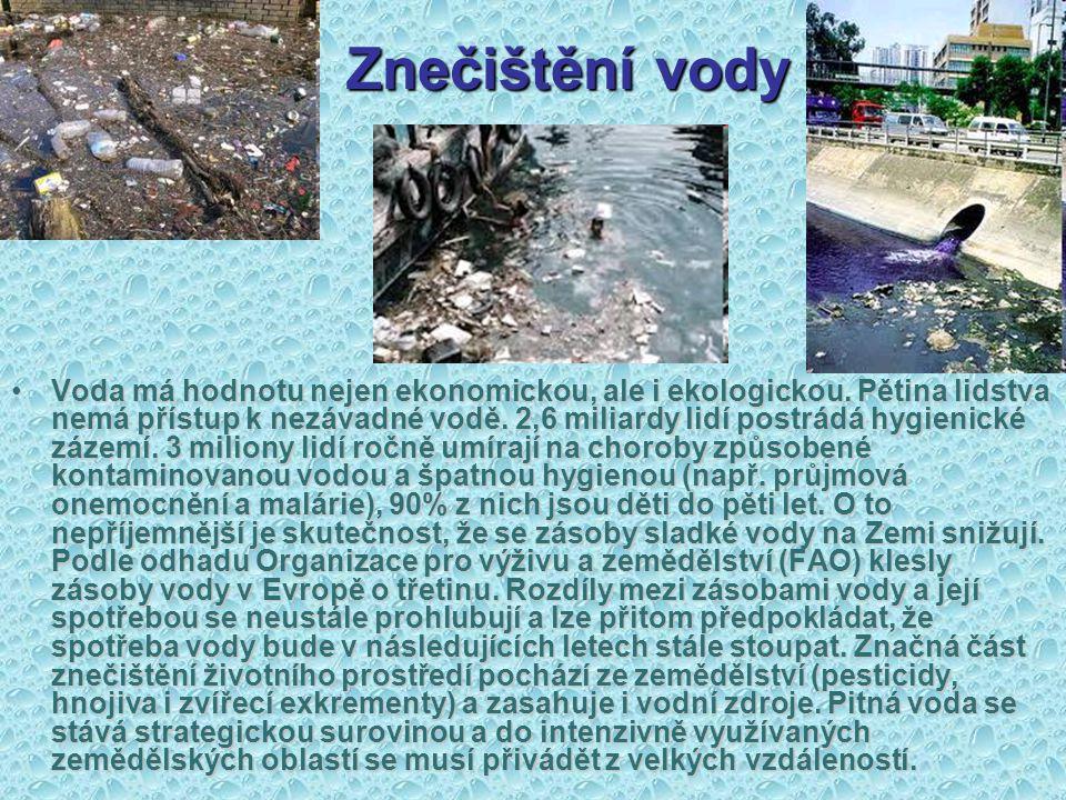 Znečištění vody Voda má hodnotu nejen ekonomickou, ale i ekologickou. Pětina lidstva nemá přístup k nezávadné vodě. 2,6 miliardy lidí postrádá hygieni
