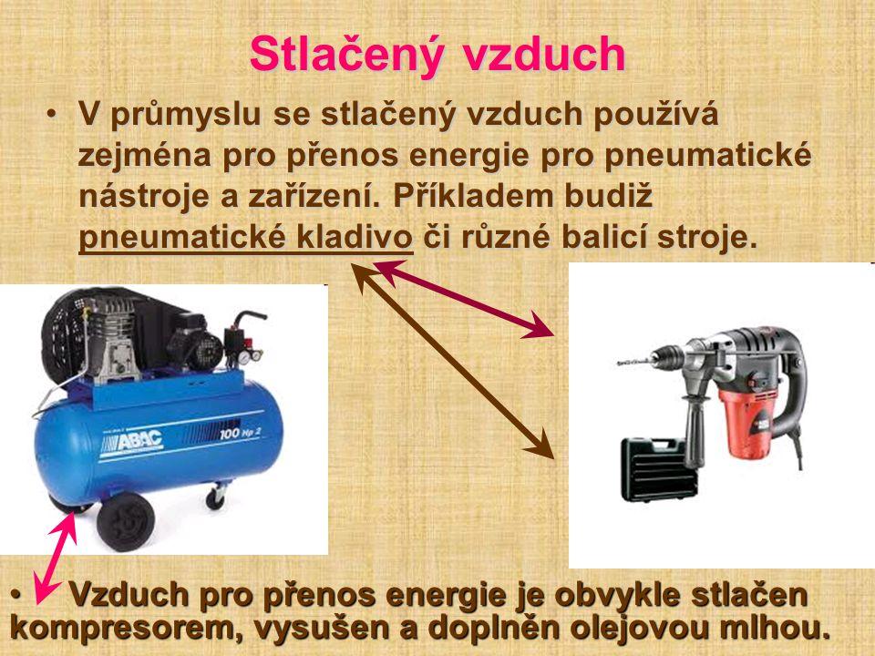 Stlačený vzduch V průmyslu se stlačený vzduch používá zejména pro přenos energie pro pneumatické nástroje a zařízení. Příkladem budiž pneumatické klad