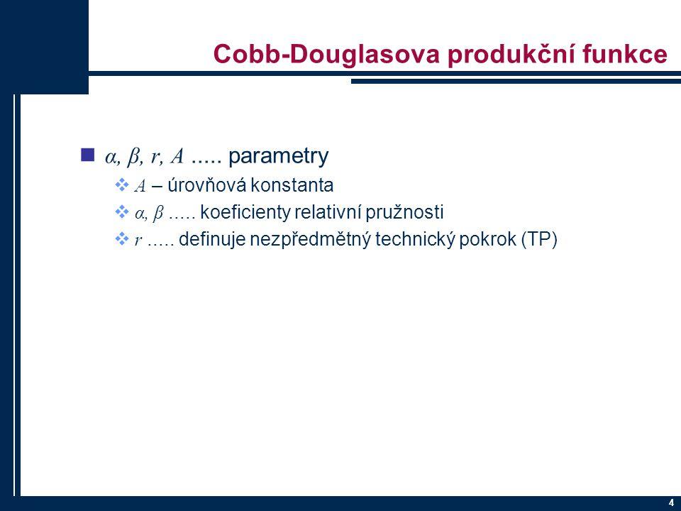 4 Cobb-Douglasova produkční funkce α, β, r, A.....