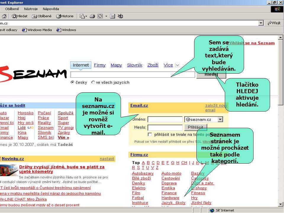Sem se zadává text,který bude vyhledáván. Tlačítko HLEDEJ aktivuje hledání. Na seznamu.cz je možné si rovněž vytvořit e- mail. Seznamem stránek je mož