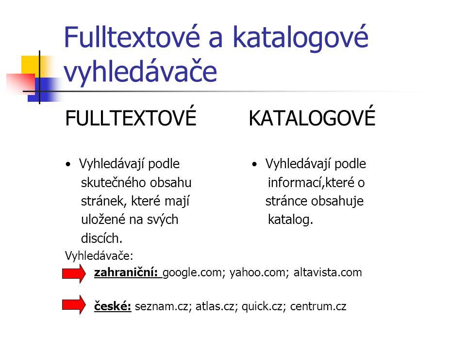 Fulltextové a katalogové vyhledávače FULLTEXTOVÉ KATALOGOVÉ Vyhledávají podle Vyhledávají podle skutečného obsahu informací,které o stránek, které maj