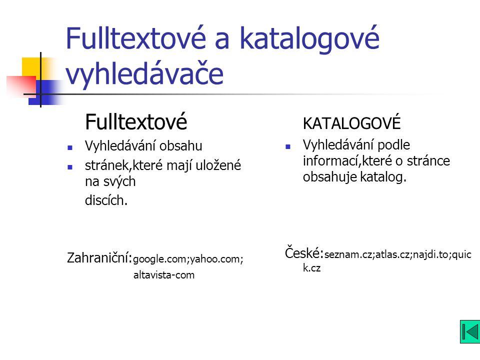 Fulltextové a katalogové vyhledávače Fulltextové Vyhledávání obsahu stránek,které mají uložené na svých discích.