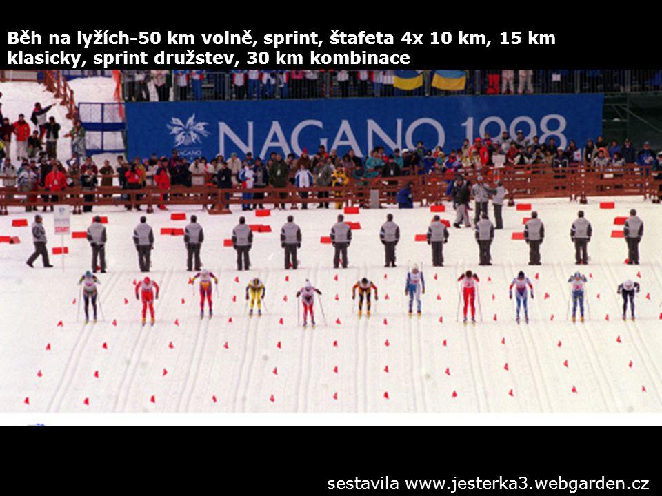 Běh na lyžích-50 km volně, sprint, štafeta 4x 10 km, 15 km klasicky, sprint družstev, 30 km kombinace sestavila www.jesterka3.webgarden.cz