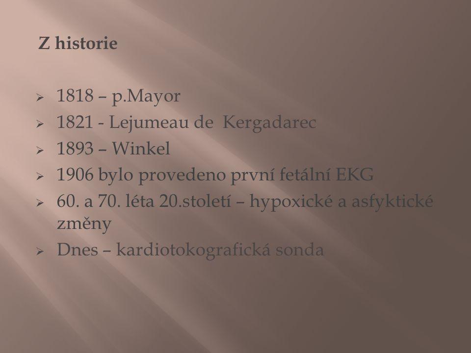 Z historie  1818 – p.Mayor  1821 - Lejumeau de Kergadarec  1893 – Winkel  1906 bylo provedeno první fetální EKG  60. a 70. léta 20.století – hypo