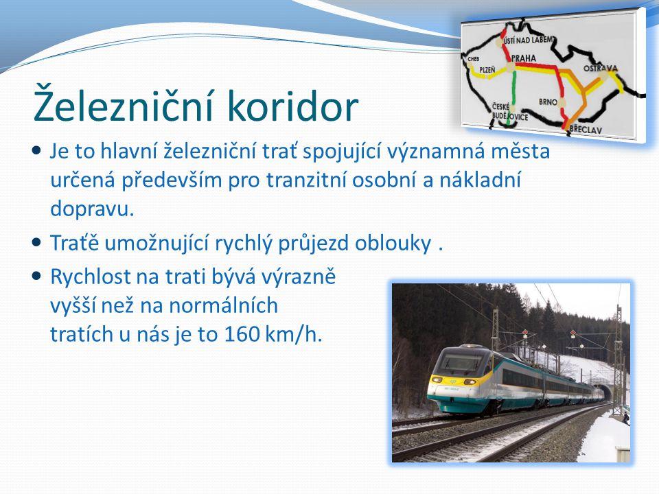 Železniční koridor Je to hlavní železniční trať spojující významná města určená především pro tranzitní osobní a nákladní dopravu.