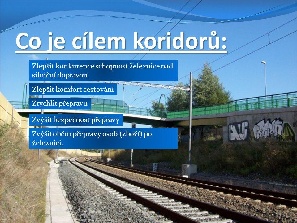 Co je cílem koridorů: Zrychlit přepravu Zlepšit komfort cestování Zvýšit bezpečnost přepravy Zlepšit konkurence schopnost železnice nad silniční dopravou Zvýšit oběm přepravy osob (zboží) po železnici.