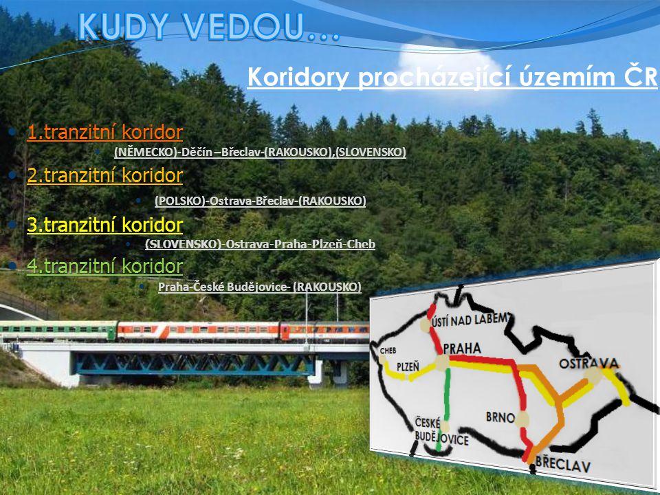 Koridory procházející územím ČR 1.tranzitní koridor 1.tranzitní koridor (NĚMECKO)-Děčín –Břeclav-(RAKOUSKO),(SLOVENSKO) 2.tranzitní koridor 2.tranzitní koridor (POLSKO)-Ostrava-Břeclav-(RAKOUSKO) 3.tranzitní koridor 3.tranzitní koridor (SLOVENSKO)-Ostrava-Praha-Plzeň-Cheb 4.tranzitní koridor 4.tranzitní koridor Praha-České Budějovice- (RAKOUSKO)