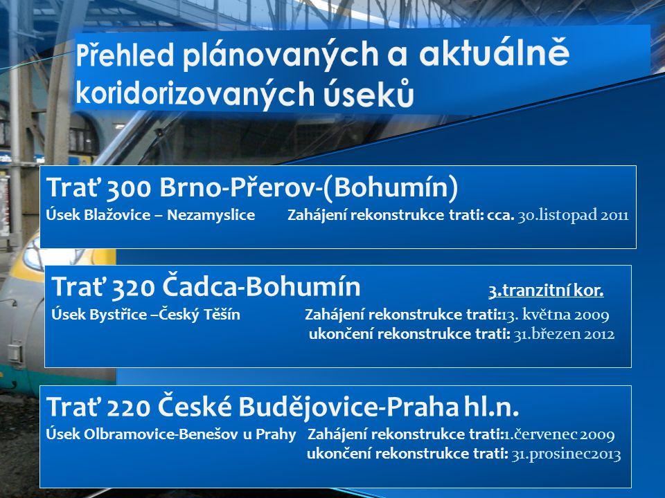 Trať 300 Brno-Přerov-(Bohumín) Úsek Blažovice – Nezamyslice Zahájení rekonstrukce trati: cca.
