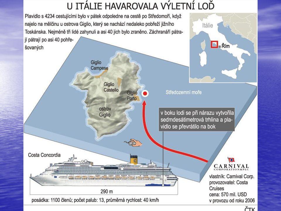 Satelitní snímek ostrova Giglio. V jeho dolní části lze vidět ztroskotanou loď.