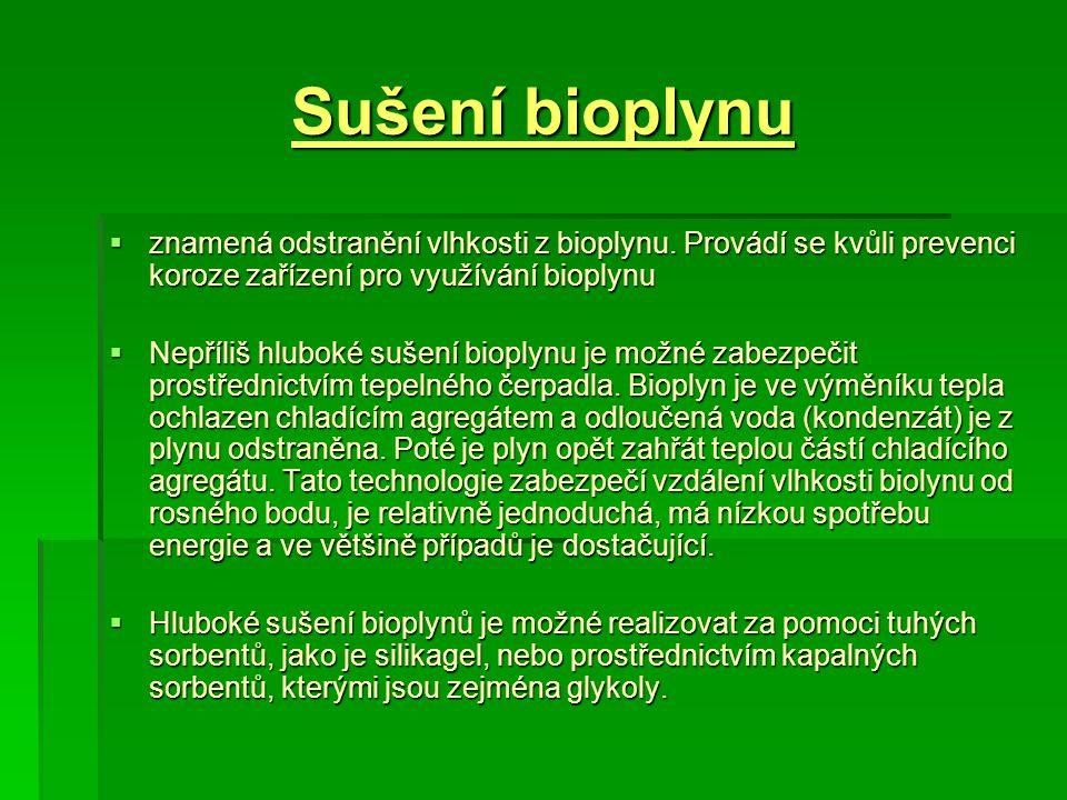 Sušení bioplynu  znamená odstranění vlhkosti z bioplynu. Provádí se kvůli prevenci koroze zařízení pro využívání bioplynu  Nepříliš hluboké sušení b