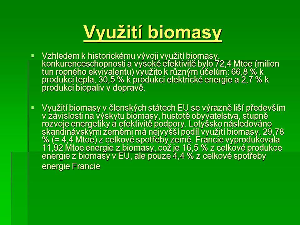 Využití biomasy  Vzhledem k historickému vývoji využití biomasy, konkurenceschopnosti a vysoké efektivitě bylo 72,4 Mtoe (milion tun ropného ekvivale