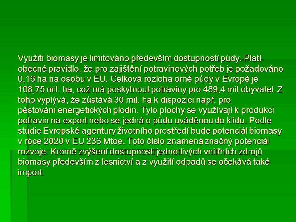 Využití biomasy je limitováno především dostupností půdy. Platí obecné pravidlo, že pro zajištění potravinových potřeb je požadováno 0,16 ha na osobu