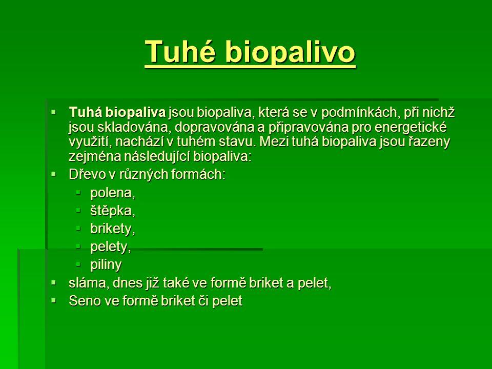 Tuhé biopalivo  Tuhá biopaliva jsou biopaliva, která se v podmínkách, při nichž jsou skladována, dopravována a připravována pro energetické využití,