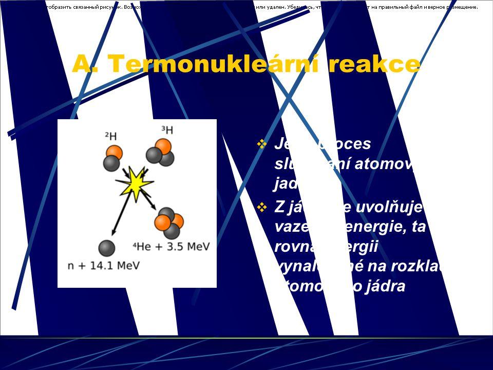 A. Termonukleární reakce  Je to proces slučování atomových jader.  Z jádra se uvolňuje vazebná energie, ta se rovná energii vynaložené na rozklad at