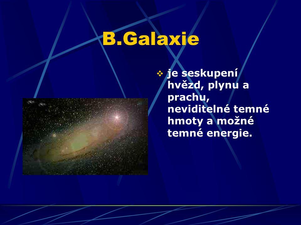 B.Galaxie  je seskupení hvězd, plynu a prachu, neviditelné temné hmoty a možné temné energie.