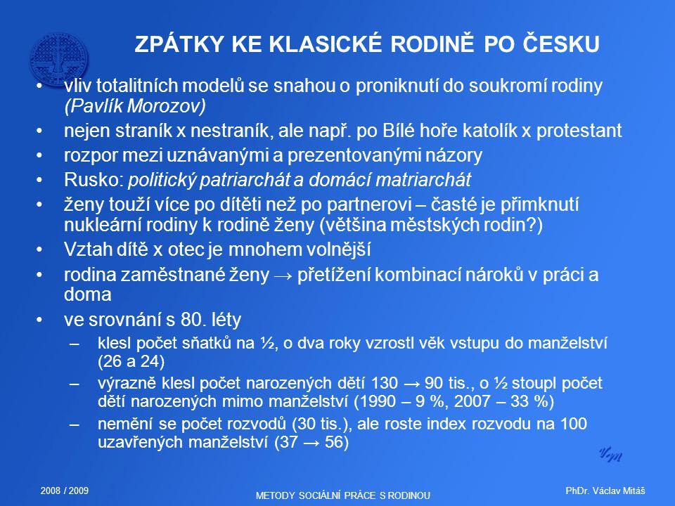 PhDr. Václav Mitáš2008 / 2009 METODY SOCIÁLNÍ PRÁCE S RODINOU ZPÁTKY KE KLASICKÉ RODINĚ PO ČESKU vliv totalitních modelů se snahou o proniknutí do sou