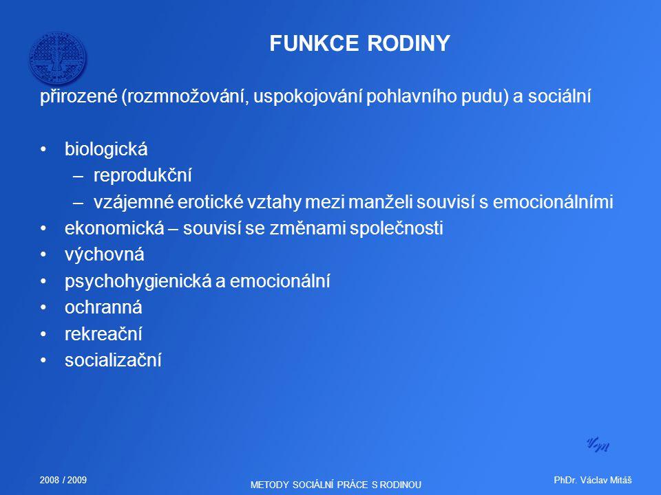 PhDr. Václav Mitáš2008 / 2009 METODY SOCIÁLNÍ PRÁCE S RODINOU FUNKCE RODINY přirozené (rozmnožování, uspokojování pohlavního pudu) a sociální biologic