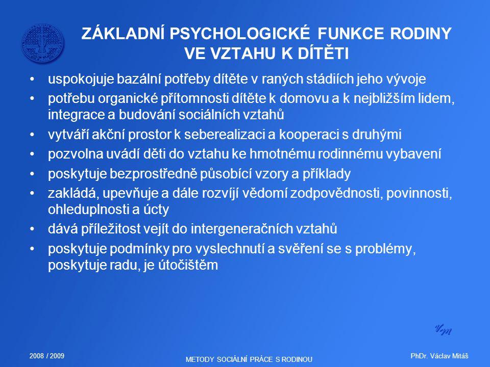 PhDr. Václav Mitáš2008 / 2009 METODY SOCIÁLNÍ PRÁCE S RODINOU ZÁKLADNÍ PSYCHOLOGICKÉ FUNKCE RODINY VE VZTAHU K DÍTĚTI uspokojuje bazální potřeby dítět