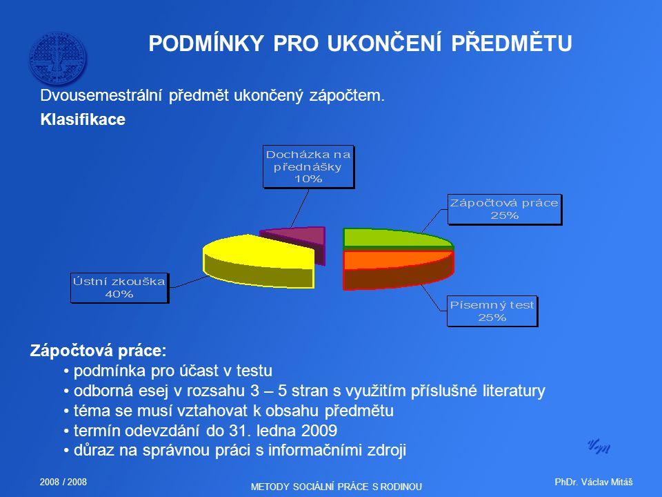 PhDr. Václav Mitáš2008 / 2008 METODY SOCIÁLNÍ PRÁCE S RODINOU PODMÍNKY PRO UKONČENÍ PŘEDMĚTU Dvousemestrální předmět ukončený zápočtem. Klasifikace Zá