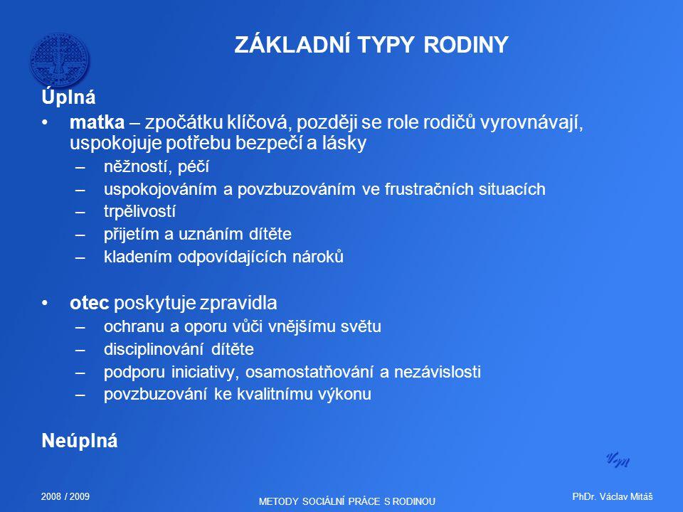 PhDr. Václav Mitáš2008 / 2009 METODY SOCIÁLNÍ PRÁCE S RODINOU ZÁKLADNÍ TYPY RODINY Úplná matka – zpočátku klíčová, později se role rodičů vyrovnávají,