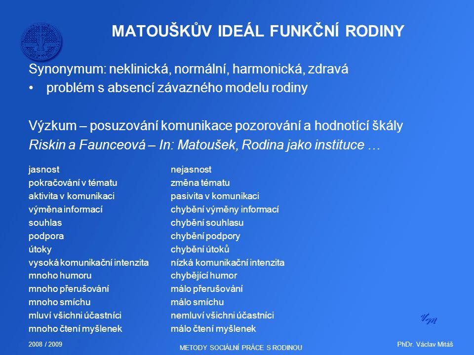 PhDr. Václav Mitáš2008 / 2009 METODY SOCIÁLNÍ PRÁCE S RODINOU MATOUŠKŮV IDEÁL FUNKČNÍ RODINY Synonymum: neklinická, normální, harmonická, zdravá probl