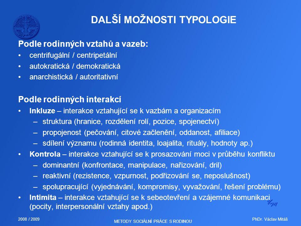 PhDr. Václav Mitáš2008 / 2009 METODY SOCIÁLNÍ PRÁCE S RODINOU DALŠÍ MOŽNOSTI TYPOLOGIE Podle rodinných vztahů a vazeb: centrifugální / centripetální a